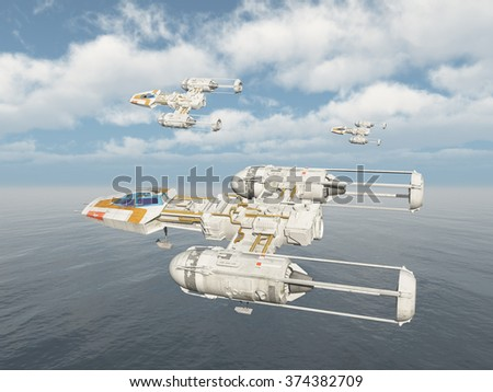 Spaceships over the ocean Computer generated 3D illustration - stock photo