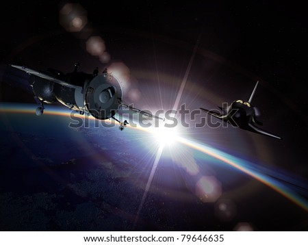 Spaceships Soyuz and Space shuttle on the orbit - stock photo