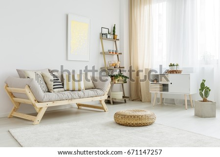 Spacious and bright living room with stylish decorations