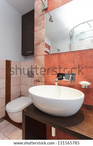 Spacious apartment - Modern wash basin in new bathroom interior