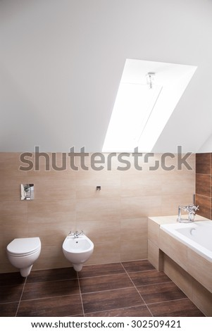 Spacious bathroom arranged in the attic of modern house