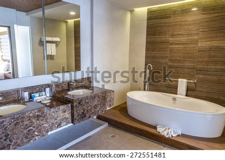 spacious bathroom in a house or hotel - stock photo