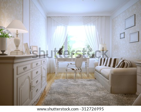 Spacious bedroom with white walls. 3D render