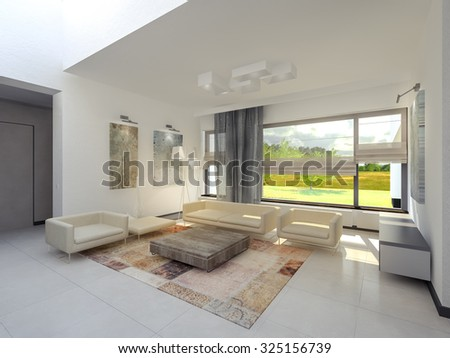 Spacious, bright and white living room with fireplace 3D rendering - stock photo