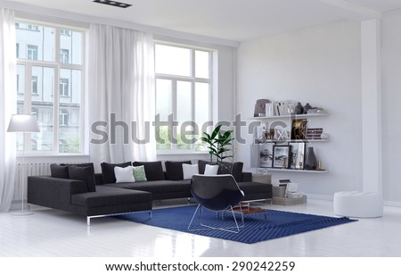 Spacious bright living room interior with a comfortable lounge suite and armchair on a blue rug in a corner below large windows with long white drapes, wall unit with personal mementos. 3d Rendering. - stock photo