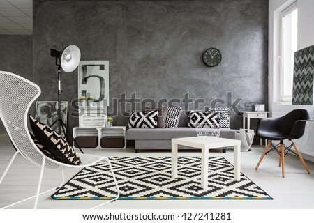 Spacious Classic Living Room In Black And White Interior Designed With Style