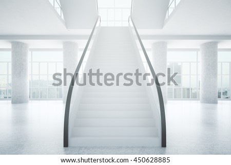 Spacious concrete business center interior with stairs, columns and city view. 3D Rendering