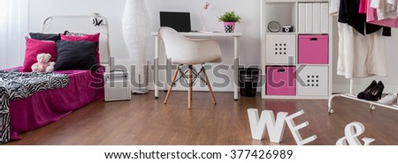 Spacious Girl Room In Pink White And Black Bedroom And Study Room Combined