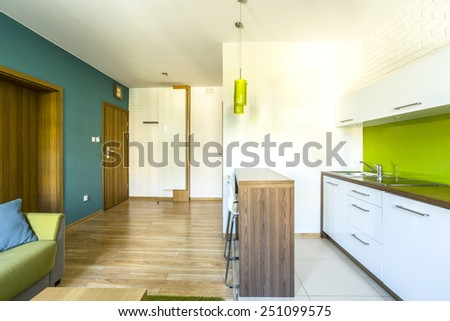 Spacious, green hotel room with modern kitchenette - stock photo