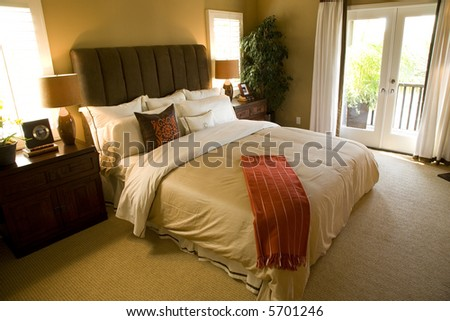 Spacious home with comfortable bedroom and modern decor.
