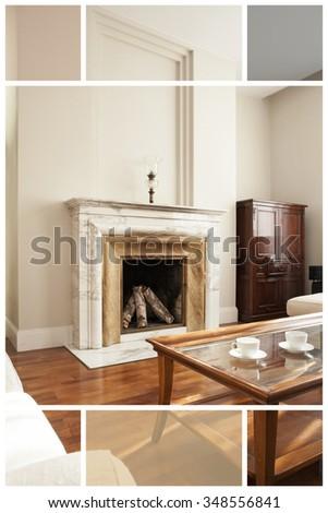 Spacious  interior of contemporary apartment living room - stock photo