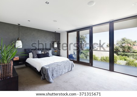 Facade Entry Contemporary White Rendered Home Stock Photo