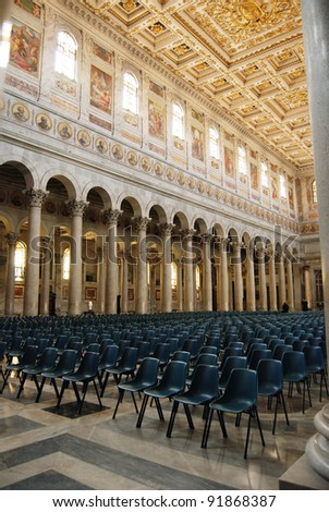 spacious interior of the basilica of St. Paul in Rome, Italy - stock photo