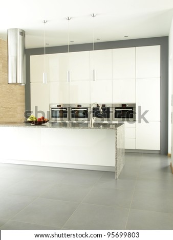 Spacious kitchen in a private property - stock photo