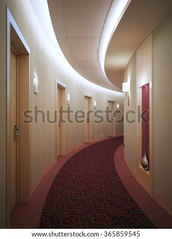 Spacious light hotel corridor in modern style with many doors leading into rooms. Electronic card lock doors. 3D render - stock photo