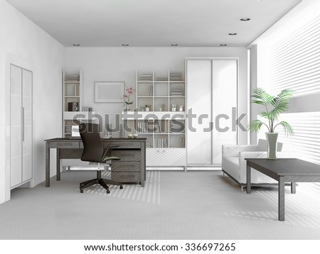spacious light white private study, table with laptop and cabinets 3D render