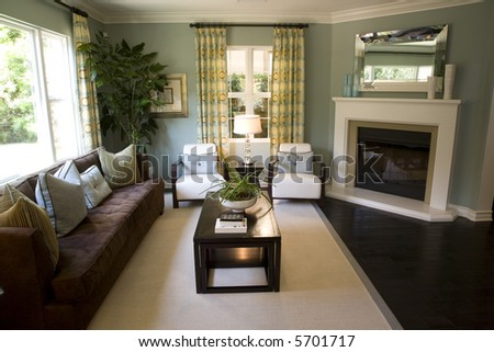 spacious living room and fireplace - stock photo