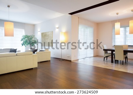 Spacious living room connected with dining hall - stock photo