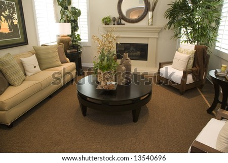Spacious living room with a fireplace. - stock photo