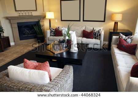 Spacious living room with a fireplace and stylish decor. - stock photo