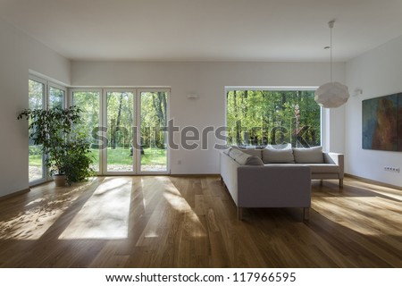 Spacious living room with overlooking to garden - stock photo