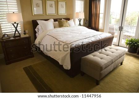 Spacious luxury bedroom. - stock photo