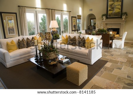 Spacious luxury home living room. - stock photo