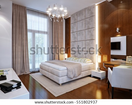 Spacious Master Bedroom With Wooden Wall Panels. 3d Render
