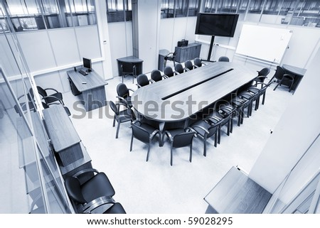spacious meeting room view from above