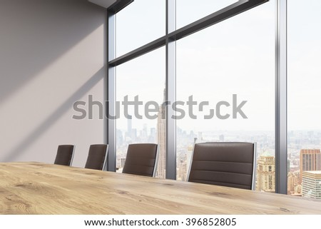 Spacious meeting room, window to the right. Concept of meeting. New York view. 3D rendering