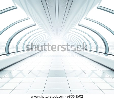 spacious modern hall inside airport - stock photo