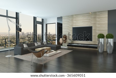 Spacious modern living room with dark grey and white decor overlooking the city through panoramic floor-to-ceiling windows. 3d Rendering. - stock photo