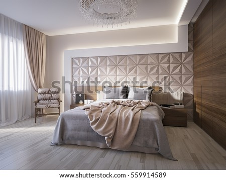 Modern Bedroom Wooden 3d Panels On Stock Illustration 560422033 ...