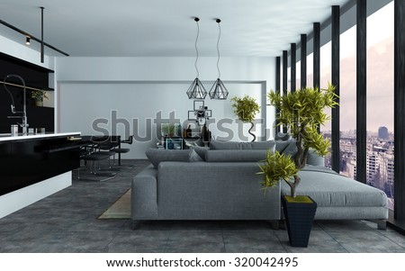 Spacious modern open-plan living room with a built in kitchen and comfortable grey couches in two seating areas in front of panoramic view windows, 3d rendering - stock photo