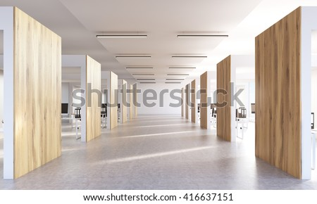 Spacious open office interior with concrete floor and wooden barriers. 3D Rendering - stock photo
