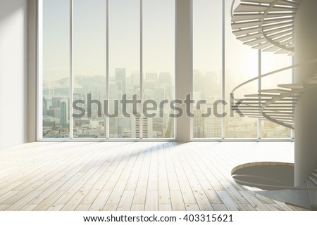 Spacious sunlit interior with tall windows, stairs and light wooden floor. 3D Rendering - stock photo