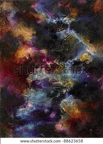 spacy picture painted by me, named Colorful Surface, showing great abstract structures and colors on a rough surface