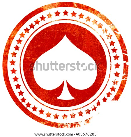 Spade card background, grunge red rubber stamp on a solid white background