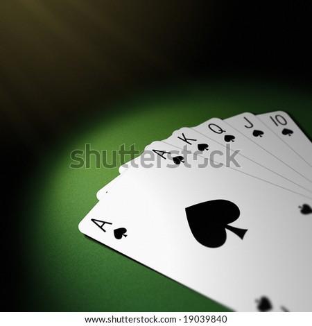 spade suit royal flush in poker - stock photo