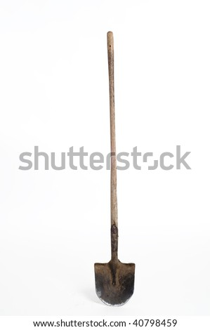 spade with Old wooden handle on white background