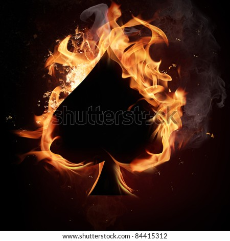 Spades Card in Fire. - stock photo