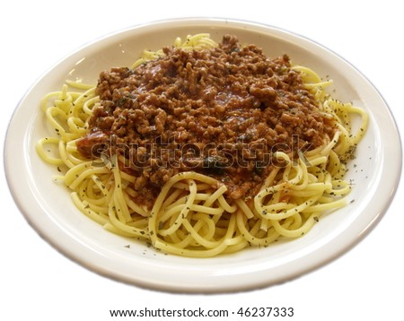 spagetti bolognese on the plate - stock photo