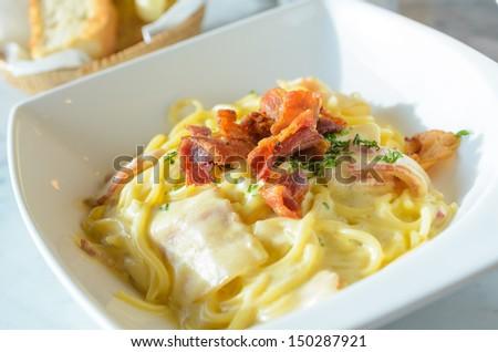 Spagetti carbonara - stock photo