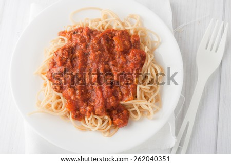 spagetti pasta with meat tomato sauce on white background - stock photo