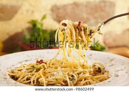 Spaghetti Aglio Olio - stock photo