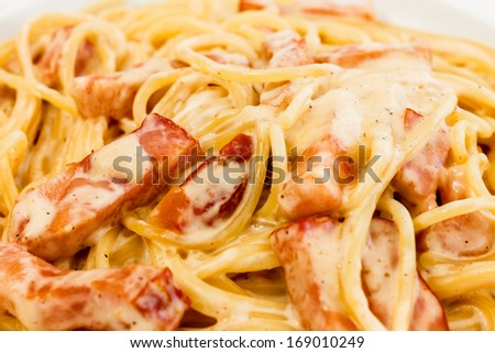 Spaghetti alla Carbonara made with eggs, bacon, cheese, black pepper ...