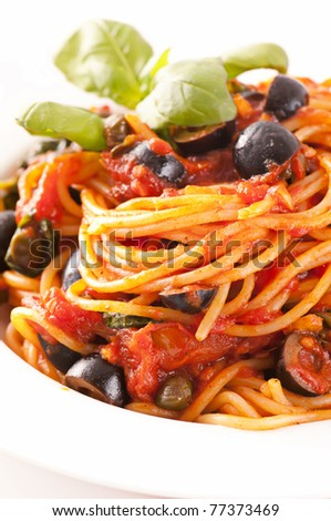 Spaghetti alla Puttanesca - stock photo
