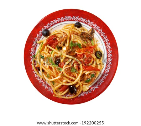 Spaghetti alla puttanesca  salty Italian pasta dish.ingredients are typical of Southern Italian cuisine: tomatoes, olive oil, olives, capers and garlic. isolated on white background. - stock photo