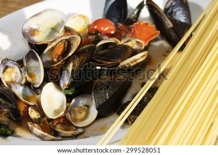 spaghetti allo scoglio with mussels,clams shirimpsalh other fresh fish