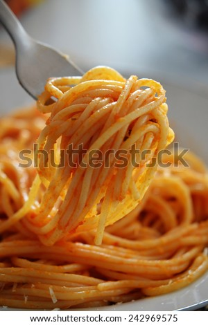 Spaghetti and fork detail. - stock photo